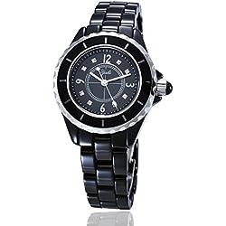 YAKI Elegante Damen Armbanduhr Casual Damenuhr Analog Quarz Uhr Keramik 3ATM Wasserdicht Schwarz Neu