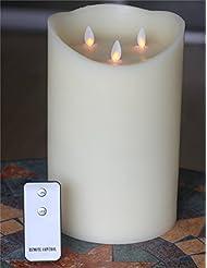Bougie sans flamme–Design Unique Bougie électrique–Télécommande Bougie LED–avec minuteur–Neuf 3d en Mèche–réaliste vacillant sans flamme Bougie pilier en cire véritable