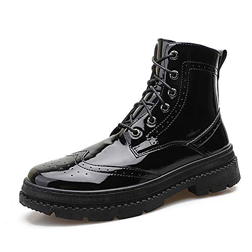 Patent-leder-stiefel (Herrenschuhe, britische High-Top Men ' S Schuhe Fall Breathable Leder Schuhe Mens Patent Leder Glossy Casual Shoes Mode Casual Shoes)