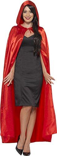 Smiffys 45529 Déguisement Femme Cape à Capuche Satinée Satin, Rouge, Taille Unique