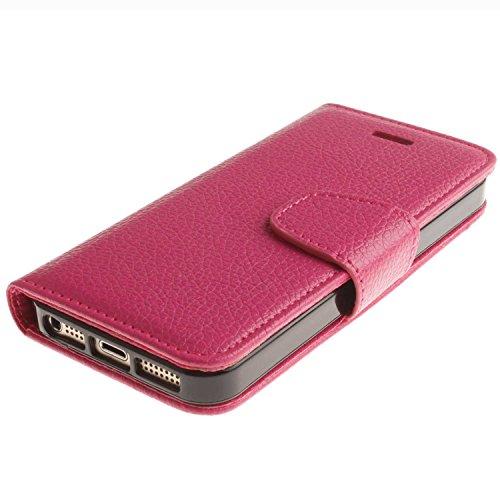 """Portefeuille Coque Pour iPhone SE [4""""], 5S/5 Case Violet Avec Béquille D'insertion de carte Faux cuir Sangle Série AOFad P134E 7C610 7C609+Rose"""