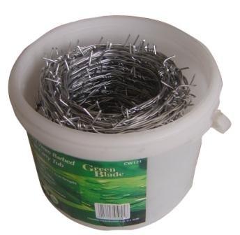 Hamble Green Blade BB-CW121 - Carrete de alambre de espino galvanizado (30 m x 1,7 mm, en bote de plástico)