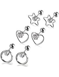 155283e9ba9e Aroncent Pendientes Hueso Oído de Acero Quirúrgico Inoxidable Antialérgico  Zirconia Joyería de Cuerpo Forma de Estrella Corazón Círculo para Mujer – 3  ...