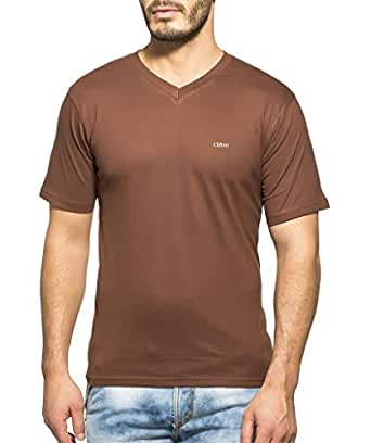 Clifton Mens Combo Half Sleeve V-Neck T-Shirt-Brown-Walnut-S