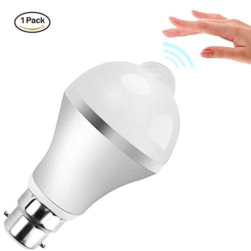 Sensor de movimiento luz bombilla, Minger 9W PIR bombillas LED para escaleras, garaje, Corridor, camino, Patio (blanco frío), b22, 9.0 wattsW