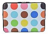 MySleeveDesign Laptoptasche Notebooktasche Sleeve für 10,2 Zoll / 11,6 - 12,1 Zoll / 13,3 Zoll / 14 Zoll / 15,6 Zoll / 17,3 Zoll - Neopren Schutzhülle mit VERSCH. DESIGNS - Colored Points [14]