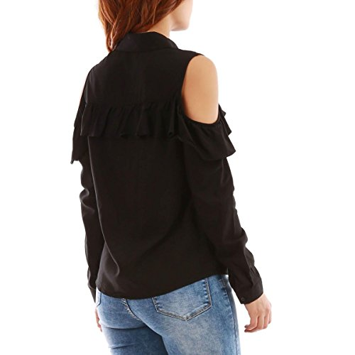 La Modeuse - Chemise en coton femme à épaules dénudées Noir