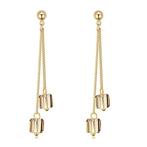 Beydodo Gold Plating Drop Earrings For Women AAA Cubic Zirconia Rhinestone Double Square Dangling Gold