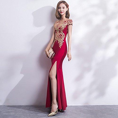 SHA Hochzeitskleid Cheongsam Toast Kleidung Hochzeit Retro Mode Braut Rot Lange Herbst Schlank,Rot,L...