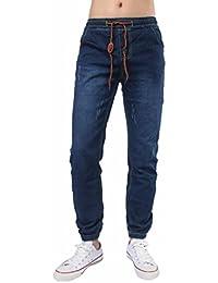 Hombres Pantalones, Manadlian Hombre Jeans Puños ajustados con cordón Pantalones de mezclilla vintage cómodos (