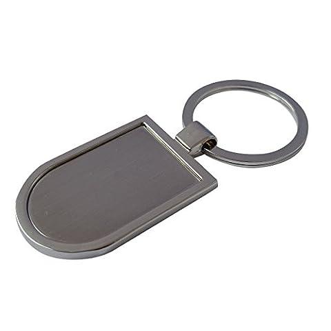 Porte-clés en argent métal (5 pièces), Metal silver blank keyring
