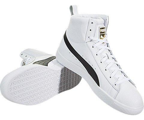 Puma Men s Clyde Mid Core Foil Sneaker White Black 11