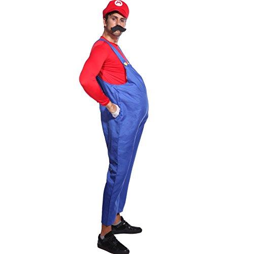 Rot + Blau Gr.L Super Mario & Luigi Klempner Kostuem Halloween Karneval Verkleidung Herren