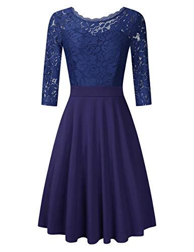 (Clearlove Damen Kleider Elegant Spitzenkleid 3/4 Ärmel Cocktailkleid Rundhals Knielang Rockabilly Kleid, Dunkelblau, S)