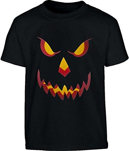 Halloween Kürbis Kopf Smile Gruselig Cooles Motiv Kinder T-Shirt - Gr. 140-182 Small (Halloween Kostüme Für Jungen Ideen Teenager)