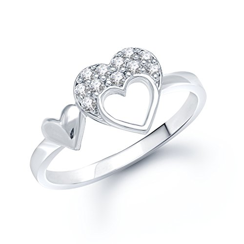 V.K .Jewels Double Heart (Cz) Rhodium Plated Ring For Women- Fr1025R Size...