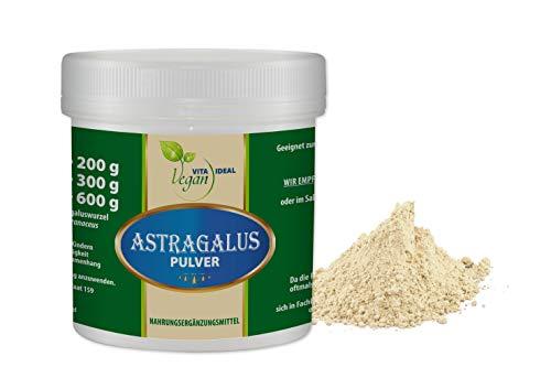VITAIDEAL VEGAN® Astragalus - Wurzel (Tragantwurzel Astragal Huang Qi) Pulver 100g inklusive Messlöffel, rein natürlich ohne Zusatzstoffe.