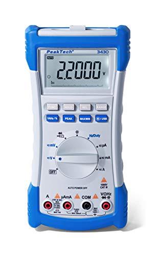 Peak Tech P3430 - True RMS Digital Multimeter 1000V DC/ 700V AC, LCD Anzeige, 22000 Counts, Hand Multimeter, Durchgangsprüfer mit akustischem Signal, USB, Messgerät - Cat III 1000 V/ CAT IV 600V
