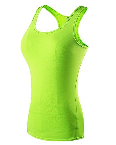 T-shirt sans manches femme yoga compression de jogging de fitness gilet de couche de base Vert Fluorescent