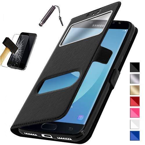 KONTARBOOR - Etui Housse Coque Samsung Galaxy Noir J5 2017 SM-J530F + Film Verre TREMPE + Stylet *** Plusieurs Couleurs Disponibles ***