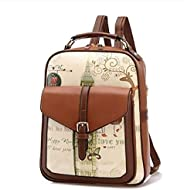 Korean Version Fashion Trend Personality Leather Double Shoulder Bag Backpack For Women Brown Hy88