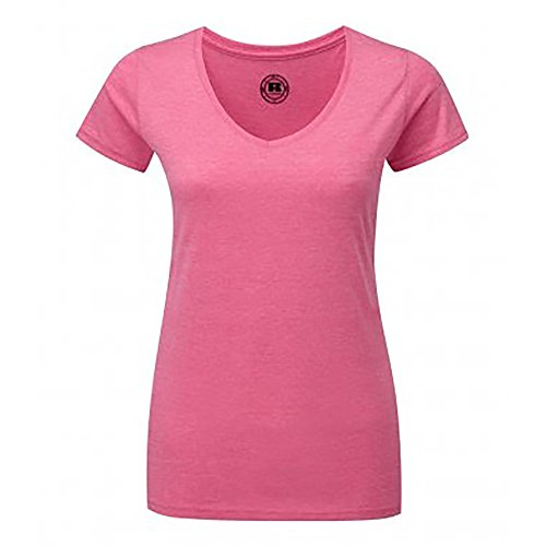 Russell Damen HD T-Shirt mit V-Ausschnitt, kurzärmlig Grün Meliert