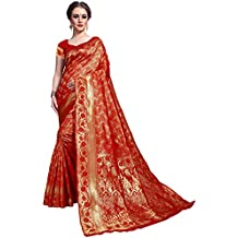 Glory Sarees Women's kanchipuram Style Art Silk Saree (Red)