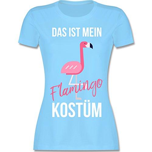 Shirtracer Karneval & Fasching - Das ist Mein Flamingo Kostüm - Damen T-Shirt Rundhals Hellblau