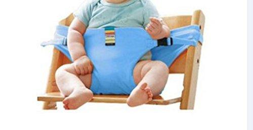 El asiento de bebé lavable de alta silla de viaje portátil Booster con correas niño arnés de seguridad bebé alimentación de la correa-Azul