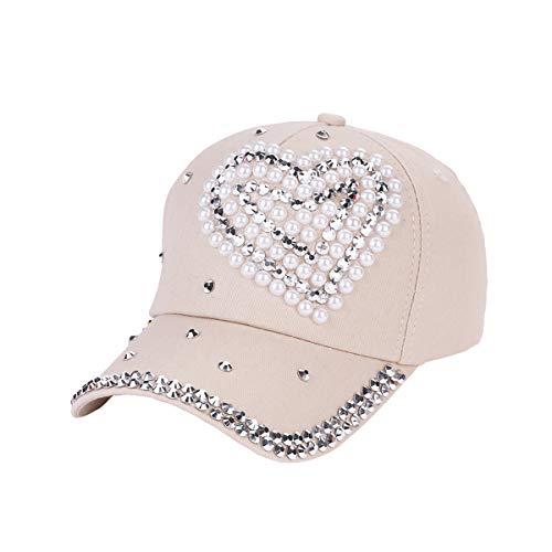 Jinxuny Frauen Baseballmütze Atmungsaktive Baumwolle Snapback Sports Sun Cap Strass Herz Mode Hut (Color : Beige)