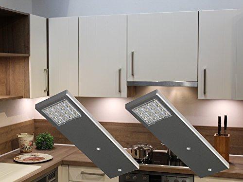 LED Unterbauleuchten 2-er Set / Alu / Lichtfarbe warm weiß / Art. 2075-2 / Küchenlampen / Küchenbeleuchtung / Schrankbeleuchtung / Messebau / Ladenbau / Komplettset mit LED Netzteil Schalter Steckverbindung und Befestigungsmaterial [Energieklasse A++]