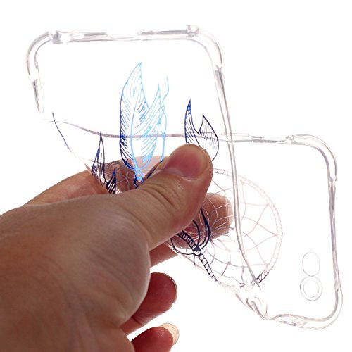 iPhone 6 Plus/6S Plus Coque,iPhone 6 Plus/6S Plus Gel Motif métallique TPU Case Feeltech Apple iPhone SE Case Silicone Clair Ultra Mince Premium Bumper iPhone 5S Housse Légère Étui Protecteur Transpar Bleu Attrapeur de rêves