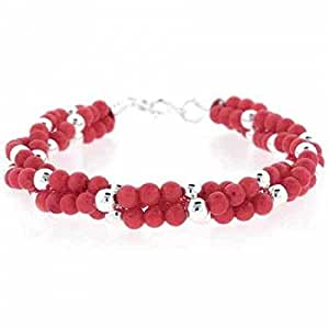 Edles Perlen Armband mit rosa Koralle, Sterling Silber
