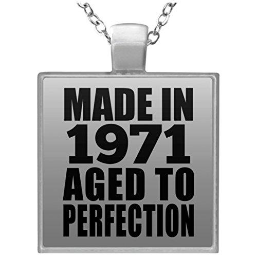 48th Birthday Made In 1971 Aged to Perfection - Square Necklace Halskette Quadrat Versilberter Anhänger - Geschenk zum Geburtstag Jahrestag Muttertag Vatertag Ostern