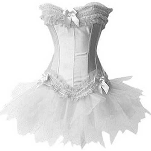 EUDOLAH Gothic Korsage Kleid Mini Rock Petticoat Bustier Top mit Tutu-Rock (EUR 40-42/2XL, 631 ()