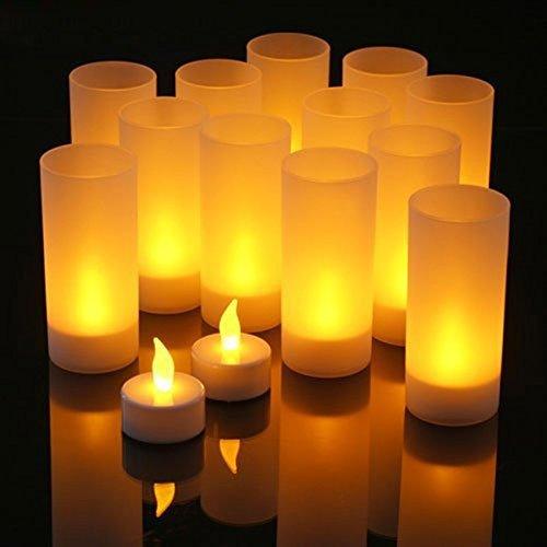 Intsun® 12er LED Teelichter mit Ladestation
