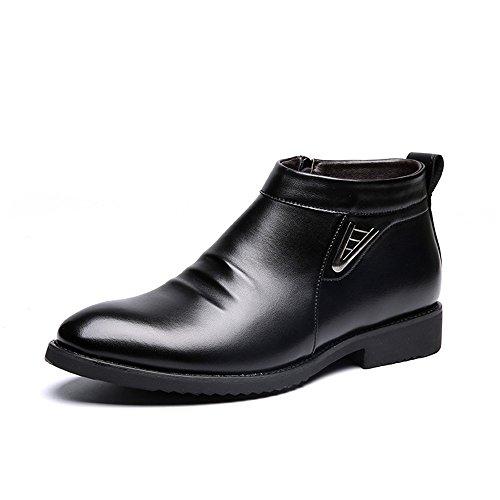 d89f4872 Sunny&Baby Botas de Invierno de los Hombres de Vlevet Retro cómodos Zapatos  de Nieve de Cuero