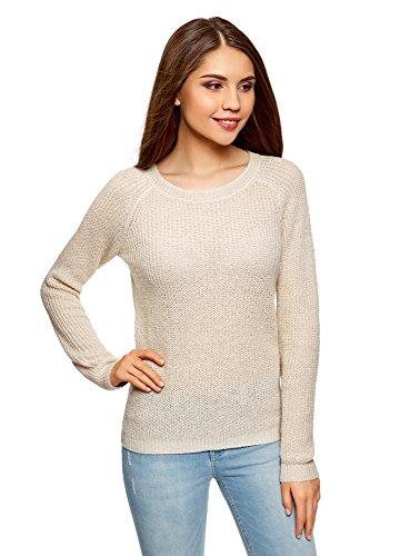 oodji Ultra Damen Pullover mit Bindebändern am Rücken, Elfenbein, DE 34 / EU 36 / XS