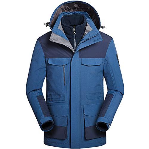 Zilee Männer Skijacke Wasserdicht Winddicht Mantel 3 in 1 Windjacke Atmungsaktiv Schneeanzug Draussen Sportbekleidung Vlies Innere zum Skifahren Wandern Bergsteigen Laufen