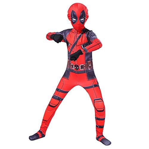 Hope Deadpool Kostüm Siamese Strumpfhosen Kinder Männer Cosplay Outfit Kostümfest Halloween Kleidung Dress Up Zentai Maskerade Requisiten,Red-110~120 cm (Up Dress Spiel Deadpool)