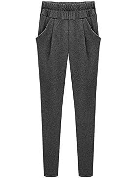 YAANCUN Mujer Pantalones Harem de Cintura Elástica con Cordón Tallas Grandes Suelto Casuales Pantalones