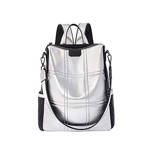 AlwaySky Damenmode Rucksack Handtasche, Silber Reflektierend Schulter Daypack Designer Persönlichkeit Rucksack Umhängetasche Reisetasche, Silber