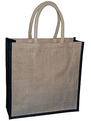 1 Große Natürliche Jute-Tasche Mit Schwarzer Ordnung 400x150x400mm - Wählen