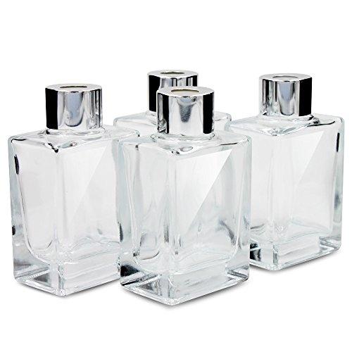Frandy House Glas Diffusor Flaschen mit Kappen, kleine Rechteck Größe, Set von 4-3.42 hoch, 40ml 1.4fl oz Duft Zubehör für Diy Ersatz Reed Diffusor Sets (3.42 * 1.96) - Glas-reed-duft-diffusor