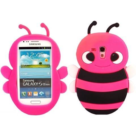 SKS Distribution® rosa caldo Bumble Bee Custodia in silicone / Cover / Case per Samsung Galaxy S3 SIII Mini i8190 - Rosa Bumble Bee