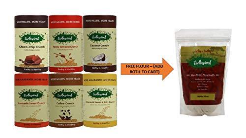 Earthspired Combo Gluten & Healthy Cookies Pack of 6 (Buy 1 Get 500 Grams Healthy Flour Free)