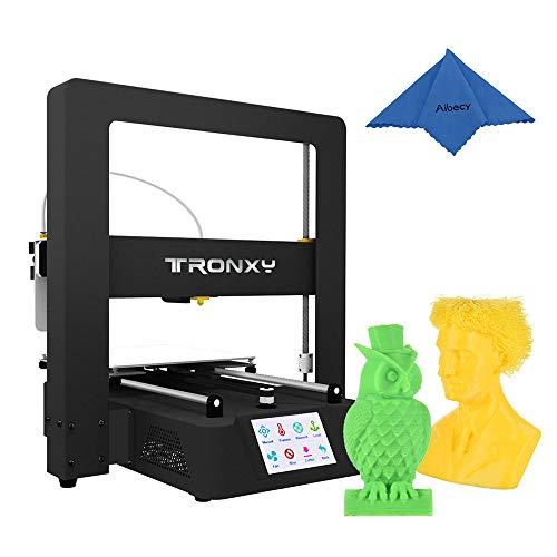 Aibecy - stampante tronxy desktop 3d con schermo touch, livellamento automatico, riavvio, rilevamento del filamento di stampa, 220 x 220 x 220 mm, 250 g, campione di filamento pla
