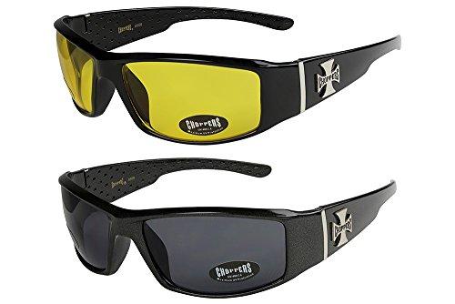 2er Pack Choppers 6608 X0 Sonnenbrillen Herren Damen Männer Frauen Brille - 1x Modell 12 (schwarz glänzend/gelb getönt) und 1x Modell 03 (schwarz sandig glänzend/schwarz getönt) - Modell 12 + 03 -