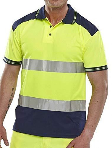 Islander Fashions Mens 2 Tone Hallo Vis T Shirt Frauen Kurzarm Hohe Sichtbarkeit Arbeitskleidung Top Gelb/Navy 4X-Large -
