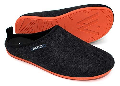 ELEWERT® – Schwarze Unisex Filz-Hausschuhe für drinnen und draußen; mit extra Dicker, oranger Gummisohle und herausnehmbarem Fußbett -Natural-W1– EU-Design, Made In Spain.Größe 42